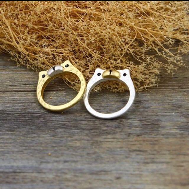 [銅板飾品系列] 金銀小熊🐻戒指 內徑17mm 金銀各一  50/個