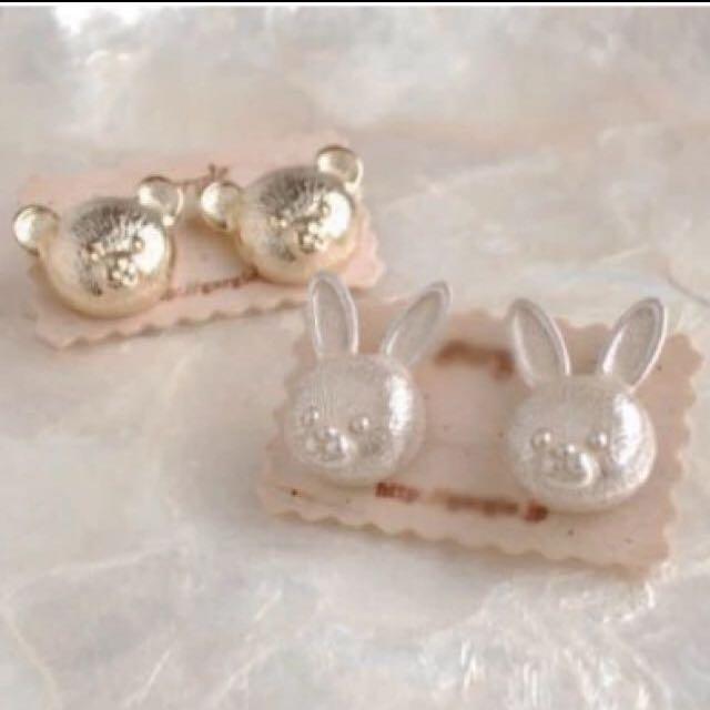 [銅板飾品系列] 銀色兔兔🐰 金色🐻熊熊 立體耳環 各一對 50/一對