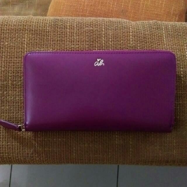 agnes b 紫紅 經典小牛皮革長夾 全新