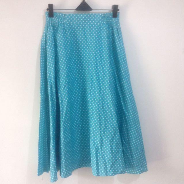 New- Blue Polka Skirt