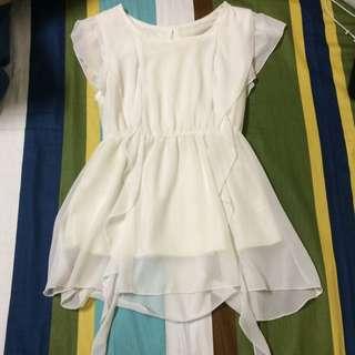 近全新-純白不規則小洋裝