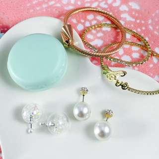 前後扣❤️水晶珍珠泡泡耳環