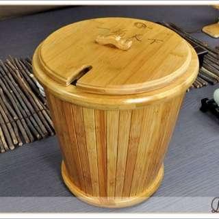 功夫茶具 高級竹制一桶天下帶蓋圓形茶漬蓄水桶/茶渣桶/收納桶