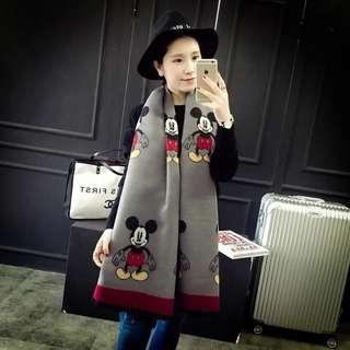韓版米奇雙面圍巾披肩