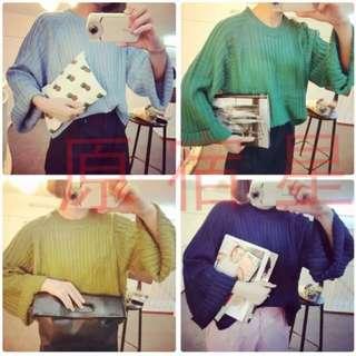 素色寬袖毛衣
