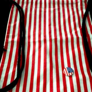 BN Instock Draw String Backpack Bag - US Flag Design with badge