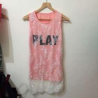 全新 蕾絲粉橘色背心連身裙 上衣