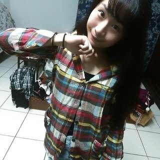 ❤可愛彩虹格子襯衫