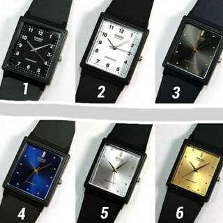 Casio 簡約方型指針休閒錶