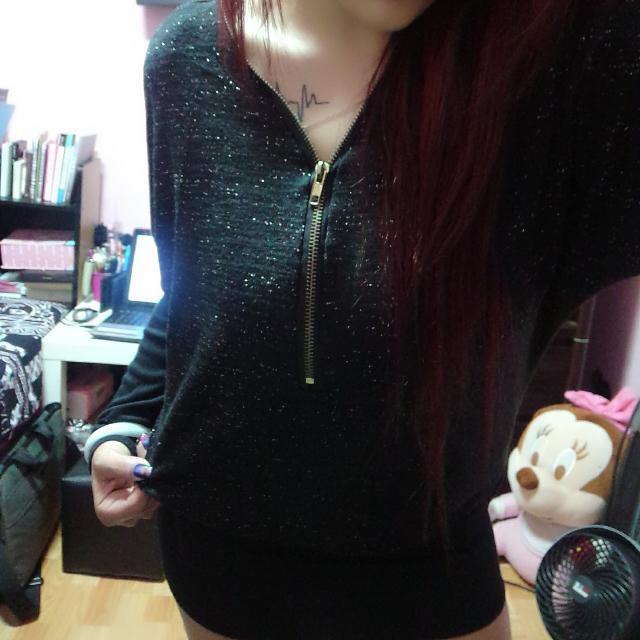 #買2送1 秋冬商品 性感 金蔥 黑色 前後拉鏈 顯瘦 小洋裝