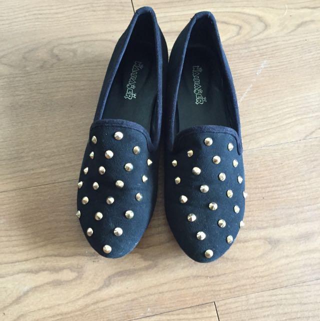 黑色卯釘樂福鞋24.5