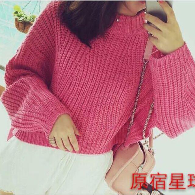 玫粉寬袖針織衣