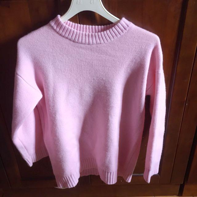 粉紅特殊領毛衣