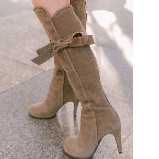 韓版蝴蝶結後拉棕色長靴、僅試穿近全新