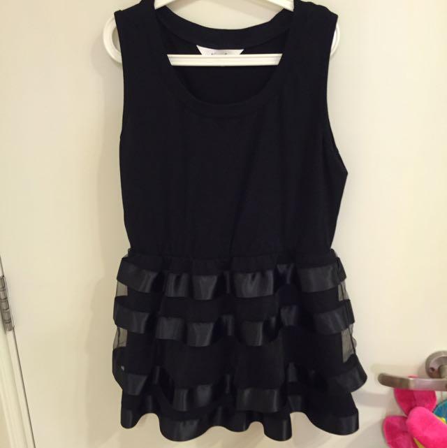 黑色無袖蓬蓬上衣小洋裝