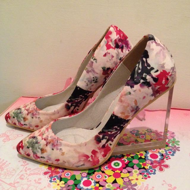 韓貨花卉透明坡跟鞋