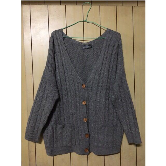 麻花編織雙口袋外套