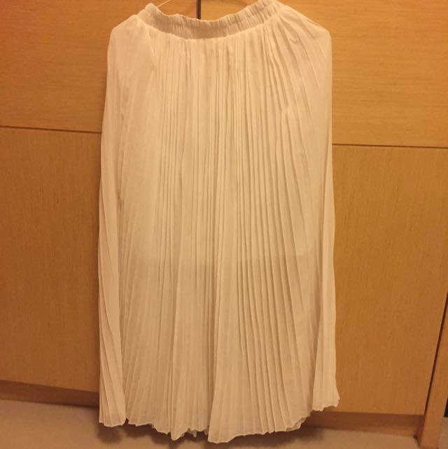 韓版白色百摺雪紡紗長裙(全新 現貨)