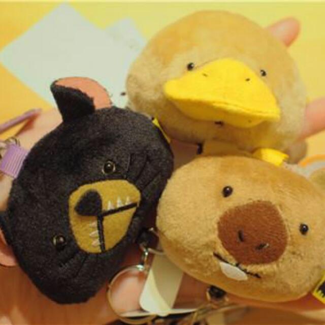 日本人氣商品 森林家族可伸縮鑰匙扣 黑熊/鴨嘴獸