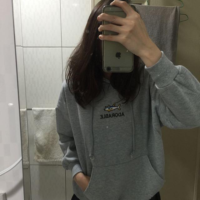 二手 / 刺繡小魚刷棉帽T(灰色)