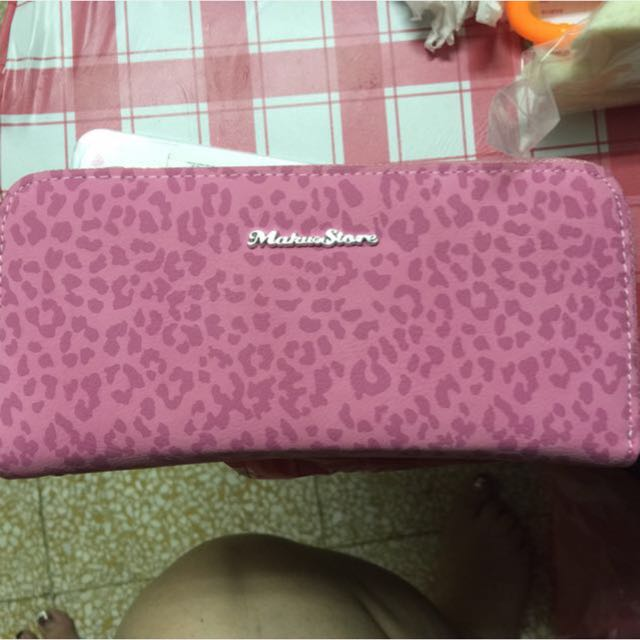 Maku粉色豹紋皮夾