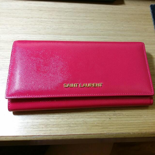 SLY聖羅蘭紅色漆皮長夾
