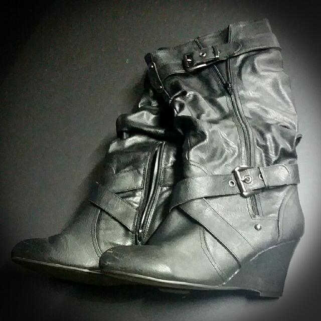 Wedge Black Leather Boots Sz41