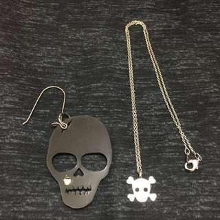 龐克骷髏_單邊耳環+項鍊