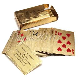 Certified Pure 24 K Carat Gold Foil Plated Poker Playing Cards w/ 52 Cards & 2 Jokers