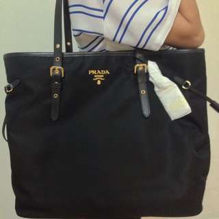 Prada Nylon Shoulder Tote Bag With Leather Tassels BN2832 - Black (Authentic & Brand New)