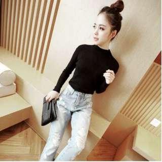 純色長袖針織衫