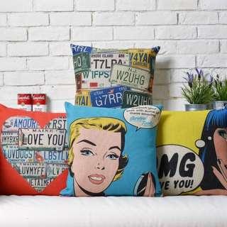 【4款】居家擺飾 美式 復古 普普藝術 瑪麗蓮夢露 綿麻 POP抱枕 抱枕套 咖啡廳 酒吧 沙發靠墊套