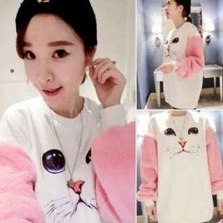 可愛貓臉拼色袖衣