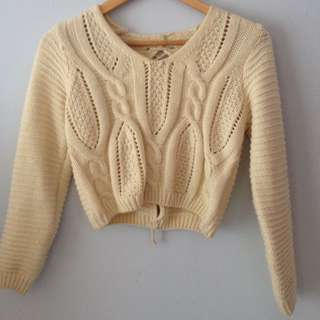 Beige Cropped Sweated