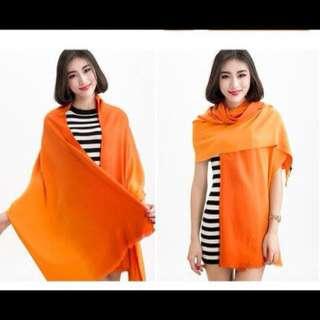 雙色漸層仿羊毛披肩圍巾 橘x紅