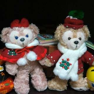 日本迪士尼 絕版 聖誕節達菲雪莉玫一對