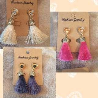 流蘇LOVE)韓時尚中長款流蘇水鑽波西米亞耳環飾品 內有實拍照