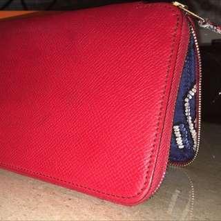 😍Hermes新款西瓜紅手工絲緞襯長皮夾。