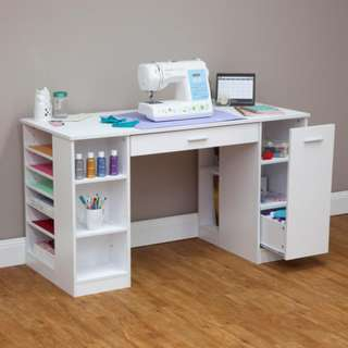 New 15 Shelves White Sewing or Craft Table