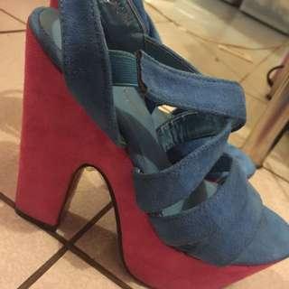 藍色桃紅配色 涼鞋 39