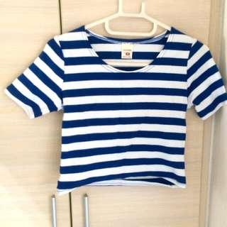 藍白條紋短版棉上衣 Crop top