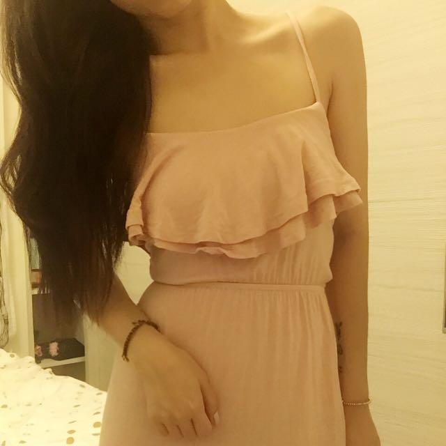 2手)粉嫩色長洋裝