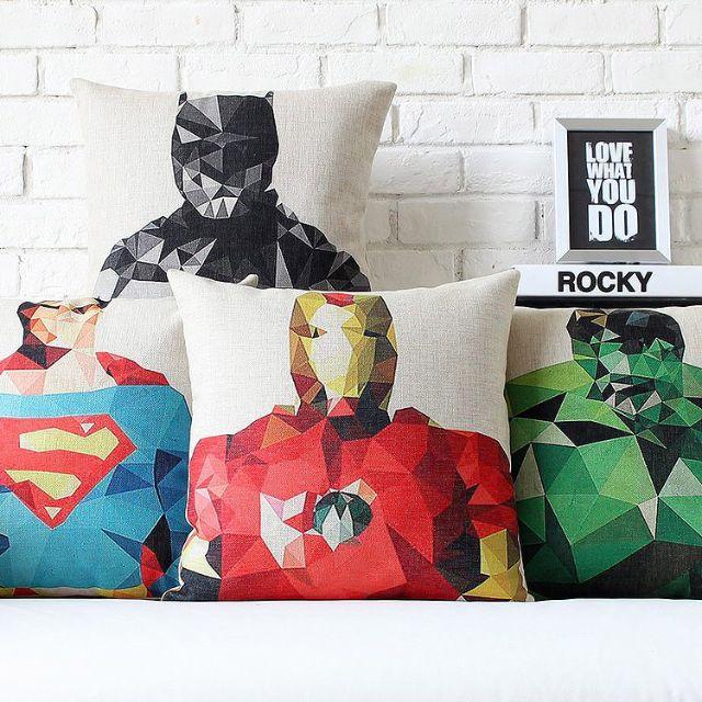 【4款】居家擺飾 幾何 美國英雄 綿麻 POP抱枕 抱枕套 咖啡廳 酒吧 沙發靠墊套