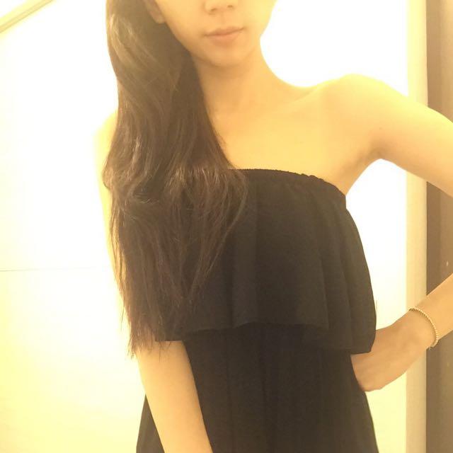 黑色雪紡長洋裝