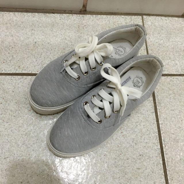 灰色綁帶厚底休閒鞋