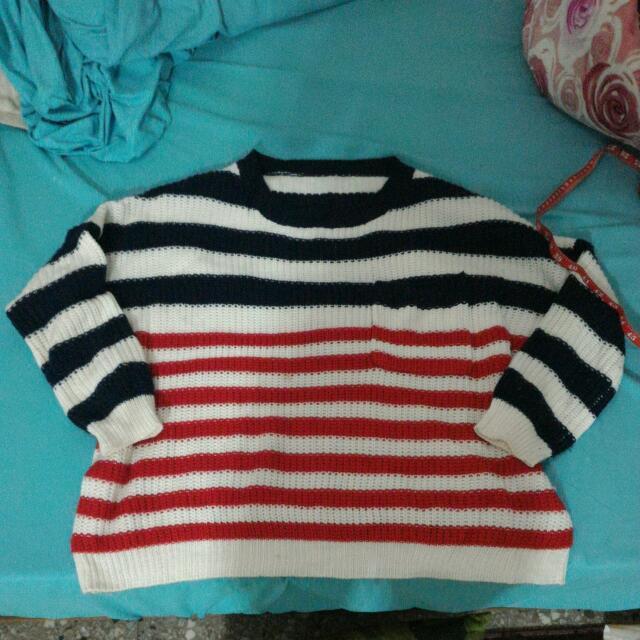 👉降價👉藍紅條紋毛衣