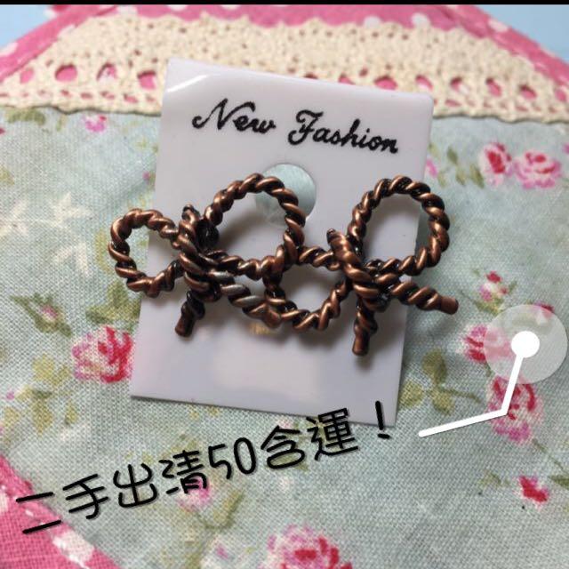 韓系金屬職質感耳環 蝴蝶結🎀🎀