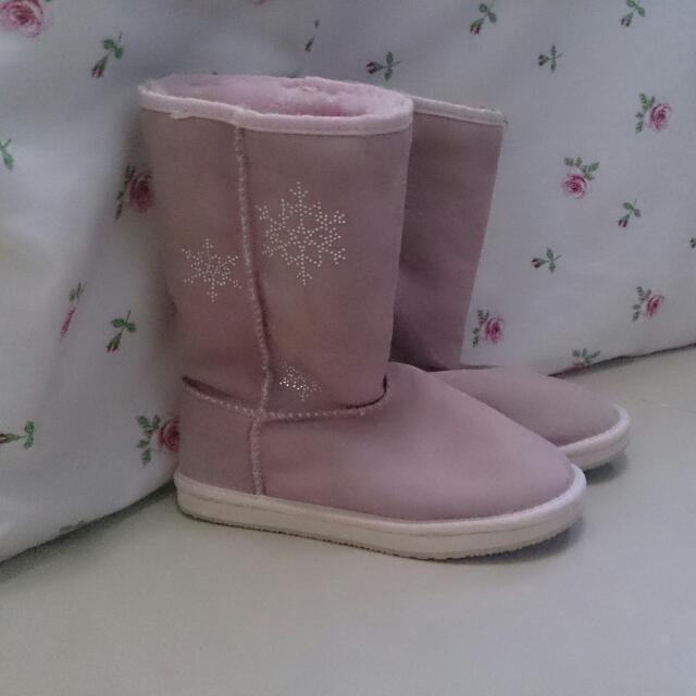 日本代購 高筒粉紫色雪靴