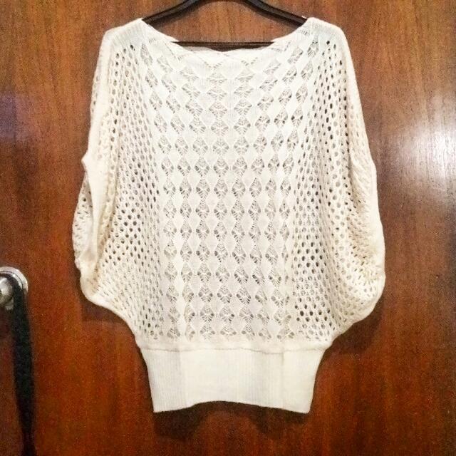 batwing knit blouse - beige