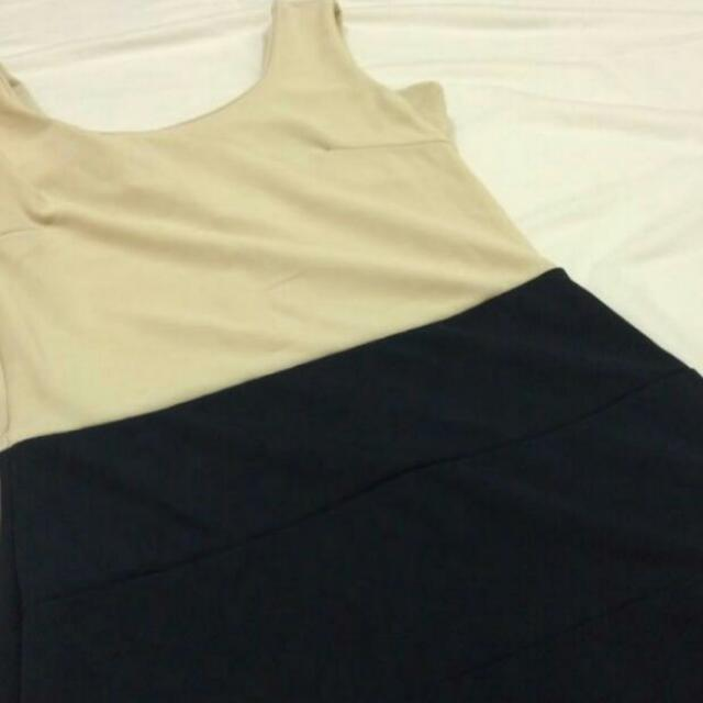 Bodycon Bandage Dress In Beige And Navy Blue